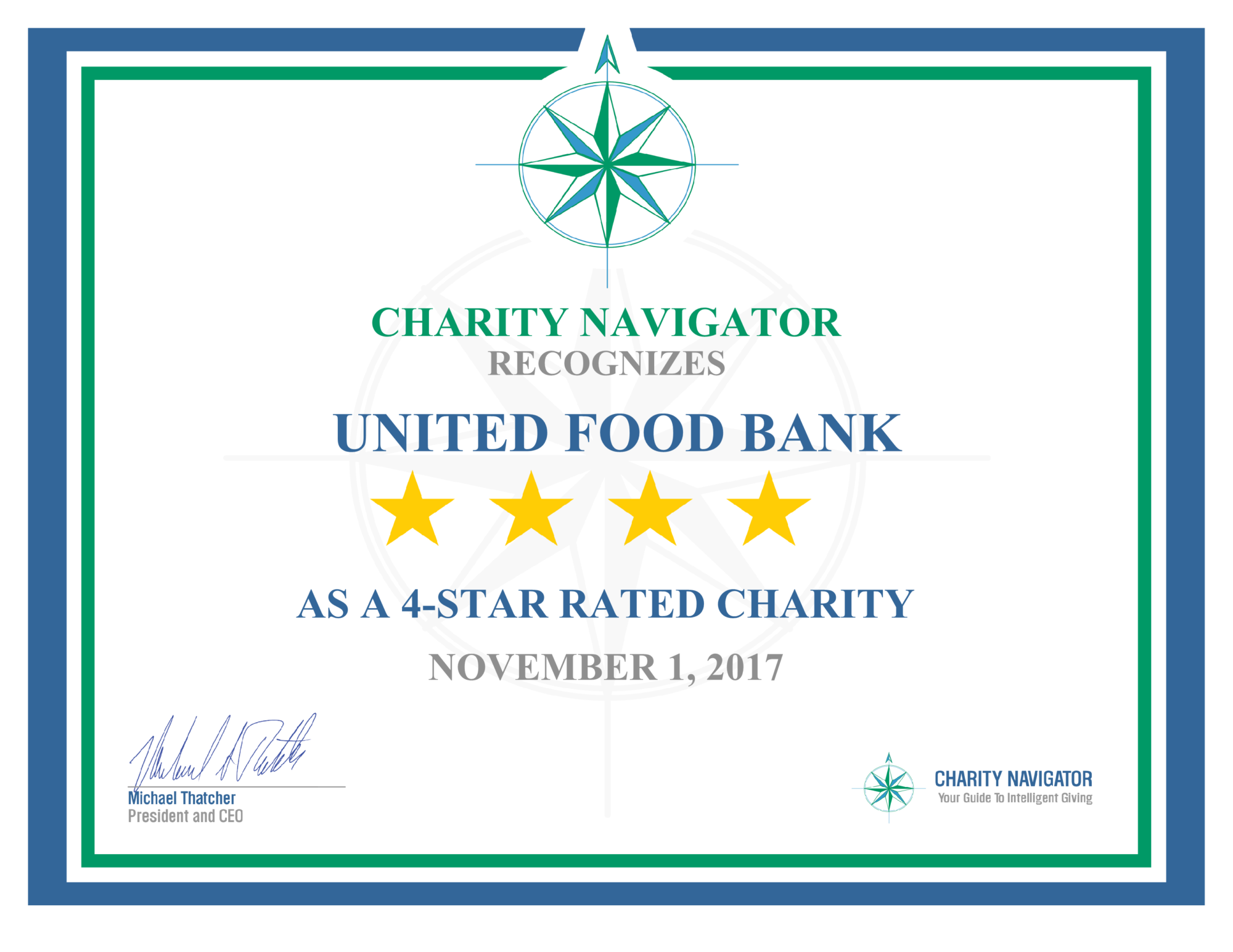 Charity Navigator Four Star Certificate United Food Bank