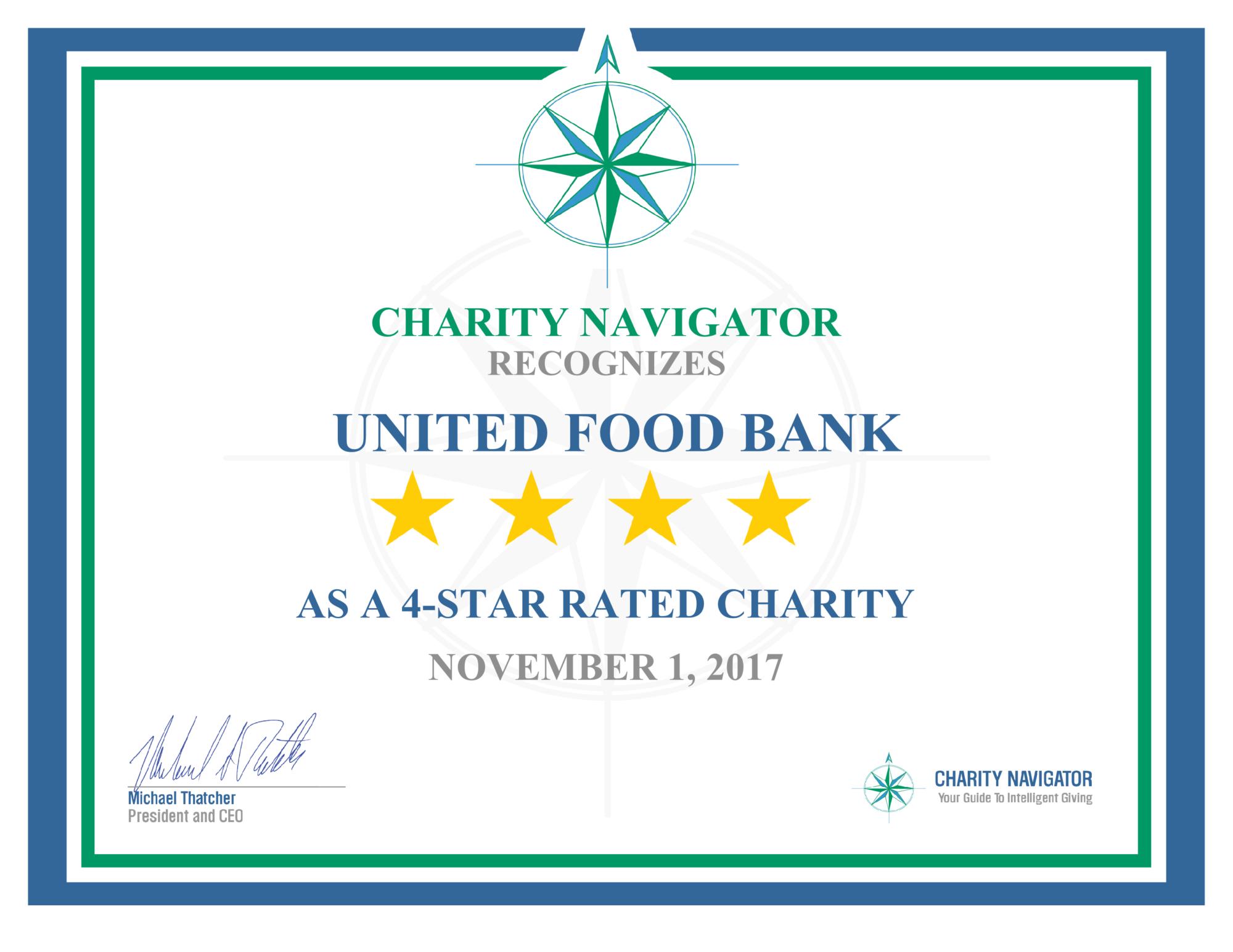 Charity Navigator Four-Star Certificate